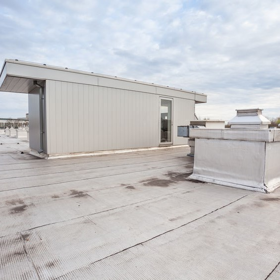 flat roof with water damage